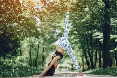 Leggings Mockup of a Woman Doing Yoga Surrounded by Nature 38394-r-el2
