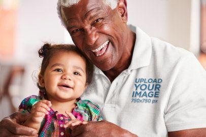 Polo Shirt Mockup of a Senior Man Holding His Granddaughter 39045-r-el2