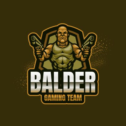 Logo Maker of a Bald Soldier with Guns 2134a-el1
