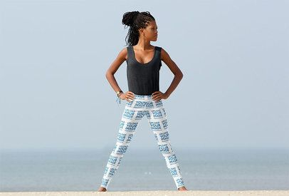 Sublimated Leggings Mockup Featuring a Woman with Long Hair 38405-r-el2