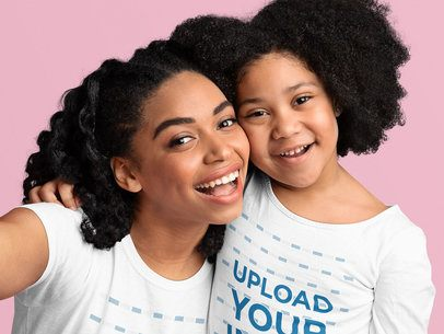 T-Shirt and Long-Sleeve Tee Mockup Featuring Mother and Daughter Taking a Selfie 39021-r-el2