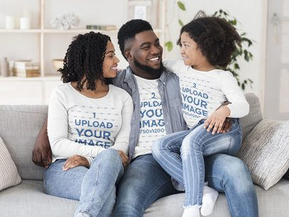 Long Sleeve Tee Mockup Featuring a Joyful Family at their Living Room 39024-r-el2