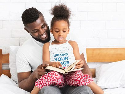 Tank Top Mockup Featuring a Little Girl Reading to Her Dad at Home 39022-r-el2