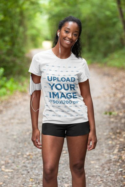 T-Shirt Mockup of a Woman Training Outdoors 36396-r-el2