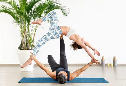 Leggings Mockup of a Woman and Her Partner Practicing Acro Yoga 38725-r-el2