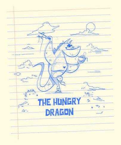 T-Shirt Design Maker Featuring Sketches of Dragons on a Notebook 2173-el1