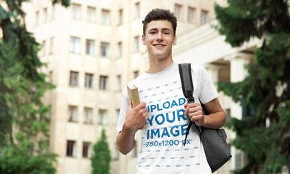 T-Shirt Mockup of a Young Man at a University Campus 39193-r-el2