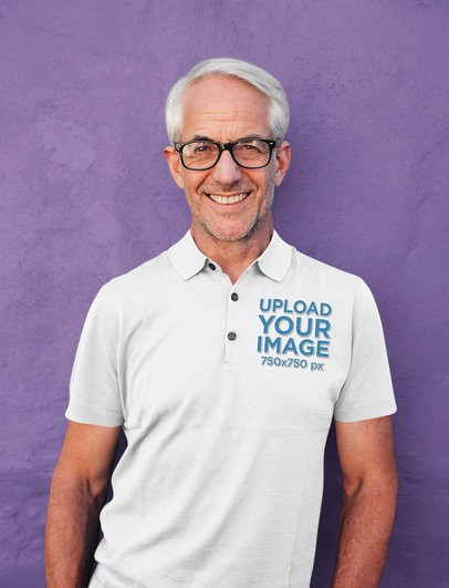 Mockup of a Smiling Senior Man Wearing a Polo Shirt 39127-r-el2
