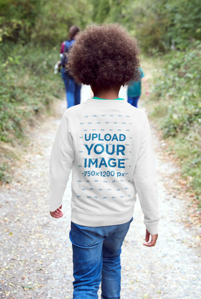 Back-View Sweatshirt Mockup of a Boy With Curly Hair Walking on a Trail 37741r-el2
