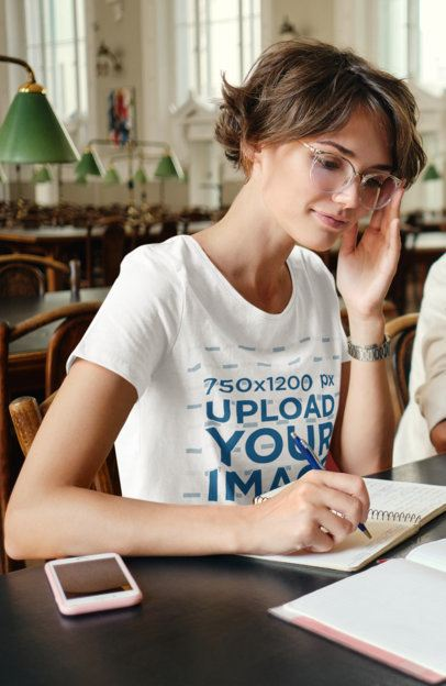 T-Shirt Mockup of a Young Woman at the Library 39172-r-el2
