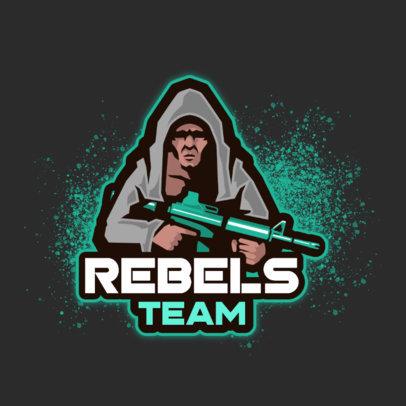 Gaming Logo Creator Featuring a Hooded Rebel Shooter Character 2123b-el1