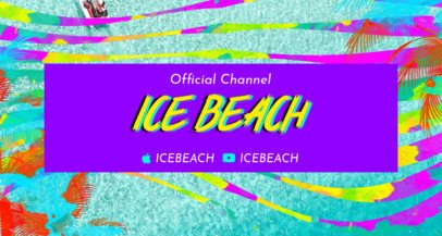 Twitch Banner Maker with a Beachy Background and Neon Colors 2721d