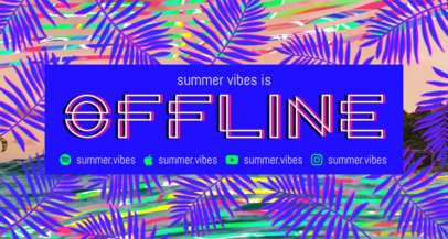 Twitch Banner Template Featuring a Tropical Leaves Pattern 2721f