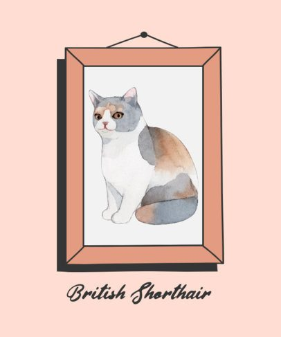 T-Shirt Design Maker with a Watercolor Illustration of a Cat 2117b-el1