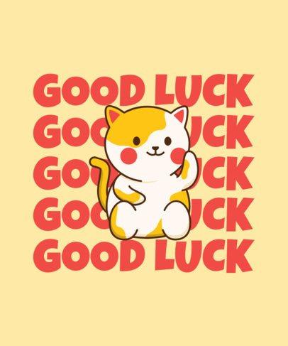 T-Shirt Design Creator Featuring a Good Luck Kitty 2715a