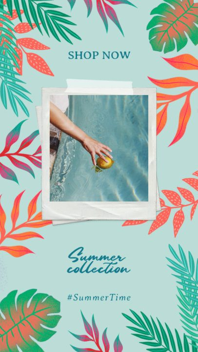Summery Instagram Story Maker Featuring Tropical Leaf Frames 2718
