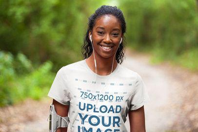 T-Shirt Mockup of a Female Runner in Nature 37882-r-el2