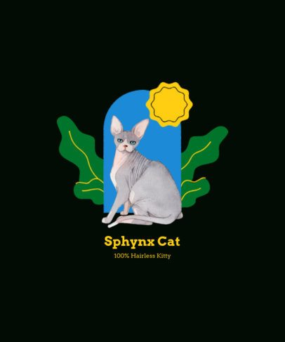 Illustrated T-Shirt Design Creator Featuring a Sphynx Cat 2113d-el1