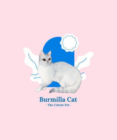 T-Shirt Design Template Featuring a Burmilla Cat Illustration 2113a-el1