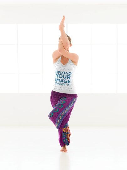 Tank Top Mockup of a Woman Doing a Standing Yoga Pose 38347-r-el2