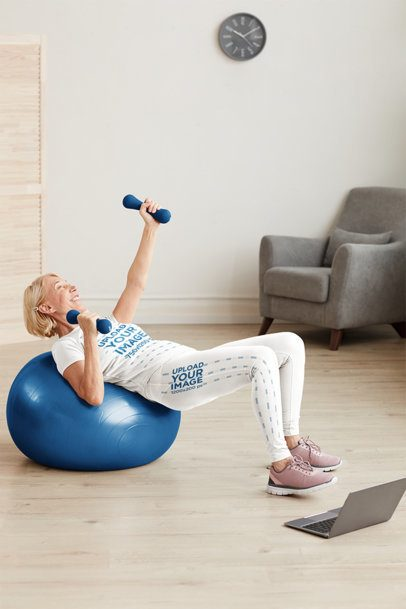 Leggings and T-Shirt Mockup Featuring a Woman Exercising at Home 38421-r-el2