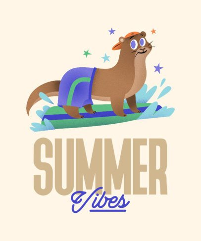 Illustrated T-Shirt Design Featuring an Otter Surfing 2717f