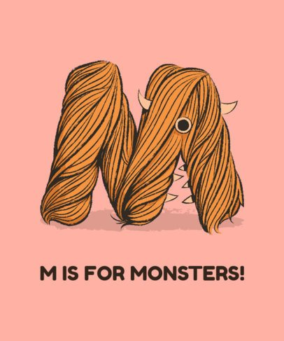 T-Shirt Design Template Featuring a Hairy M Graphic 2725j