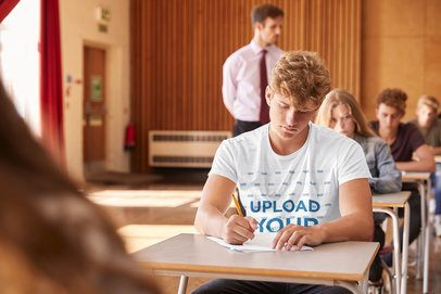 T-Shirt Mockup of a College Student Taking an Exam in a Classroom 39183-r-el2