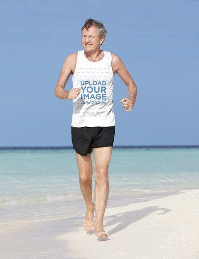 Tank Top Mockup of a Senior Runner Enjoying the Beach 39498-r-el2
