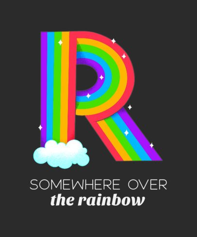 T-Shirt Design Generator Featuring a Rainbow Capital Letter 2724h