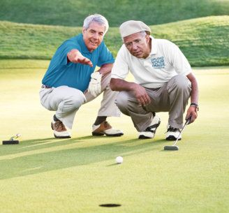 Polo Shirt Mockup of Two Elderly Friends Playing Golf 39618-r-el2