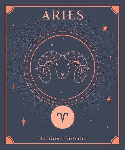 Astrology T-Shirt Design Maker Featuring a Ram Graphic 2722f