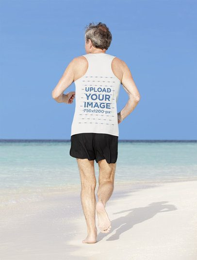 Tank Top Mockup of the Back View of a Senior Runner at the Beach 39497-r-el2