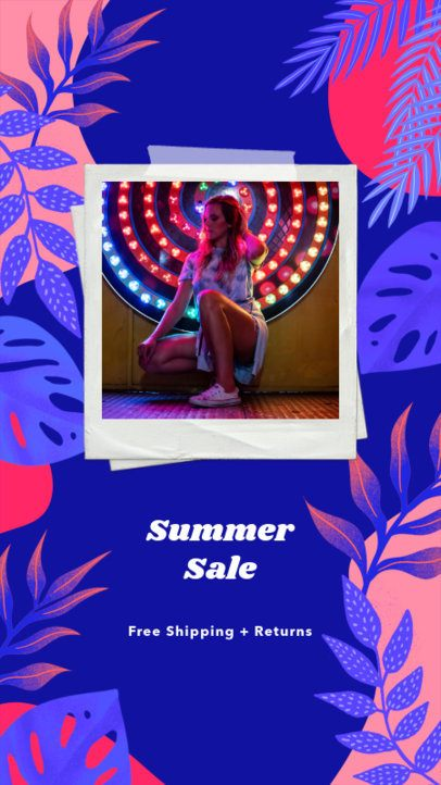 Instagram Story Template for a Summer Sale with Nature-Themed Graphics 2718f