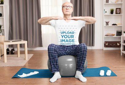 V-Neck Tee Mockup of a Senior Man Doing Pilates at Home 39602-r-el2