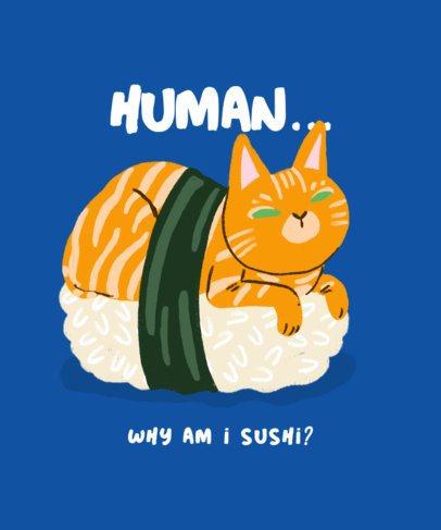 T-Shirt Design Creator Featuring a Funny Cat Illustration 2714c