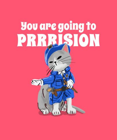 Cat-Day T-Shirt Design Generator with a Kitten in a Police Costume 2714e