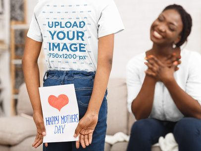 T-Shirt Mockup of a Girl Hiding a Present for Her Mom in Her Back 39238-r-el2
