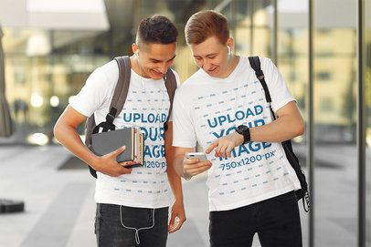 T-Shirt Mockup Featuring Two Students at Campus 39178-r-el2