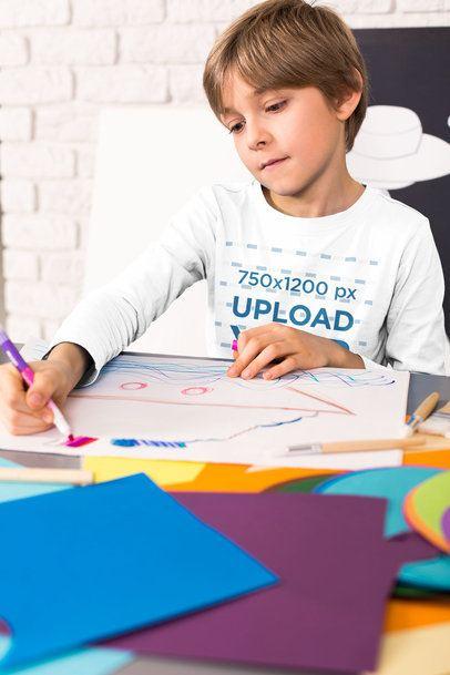 Long Sleeve Tee Mockup of a Boy Drawing 39218-r-el2