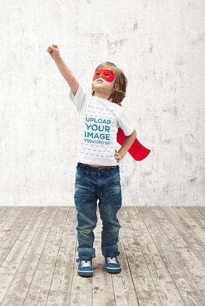 T-Shirt Mockup of a Boy Doing a Superhero Pose 39398-r-el2