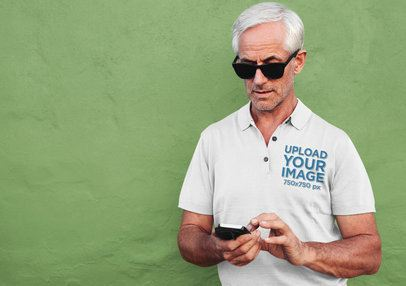 Polo Shirt Mockup of a Man with Sunglasses Texting 39150-r-el2