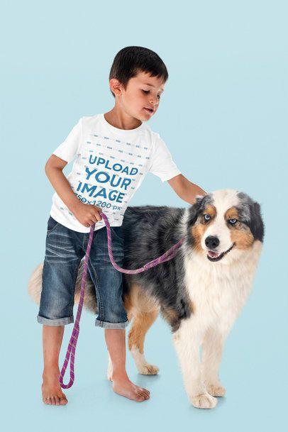 T-Shirt Mockup of a Boy Petting His Dog 39069-r-el2
