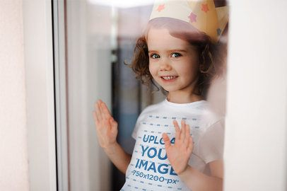 T-Shirt Mockup of a Little Girl with a Paper Crown 39278-r-el2