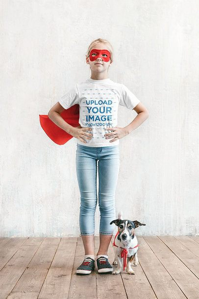 T-Shirt Mockup of a Girl Disguised as a Superhero 39395-r-el2