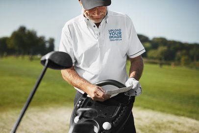 Polo Shirt Mockup of a Man at a Golf Field 39485-r-el2