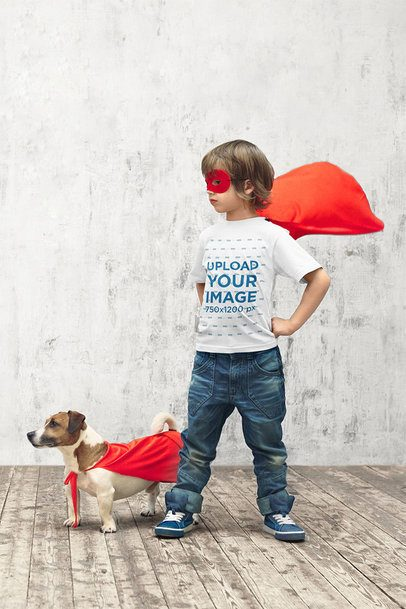 T-Shirt Mockup of a Little Boy Playing Superhero with His Dog 39397-r-el2