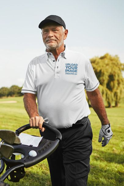 Polo Shirt Mockup Featuring a Senior Man at a Golf Course 39486-r-el2