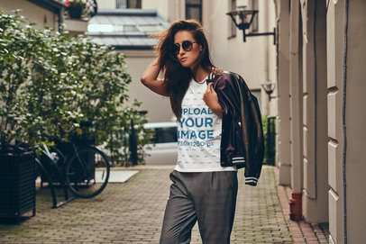 T-Shirt Mockup of a Stylish Woman Touching Her Hair 37689-r-el2