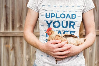 Heathered T-Shirt Mockup of a Woman Holding a Chicken 39422-r-el2